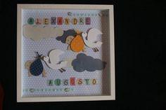 Lindo quadro em scrapbook para porta de maternidade e decorar o quarto dos bebes. Feito a mão. As cores e letras podem ser alteradas conforme solicitação. R$ 90,00