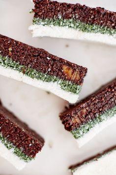 raw brownie and spirulina coconut slice.