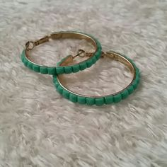 Turquoise hoops Square turquoise stones Jewelry