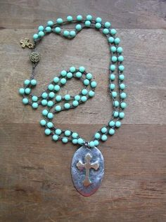 Rustic cross crochet necklace Inner Faith by 3DivasStudio on Etsy