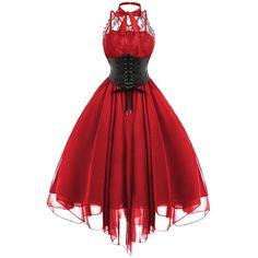 Lace Panel Cross Back Gothic Corset Dress (110 PLN) via Polyvore featuring dresses, lace panel dress, gothic lolita dress, lace inset dress, cross back dress i criss cross back dress