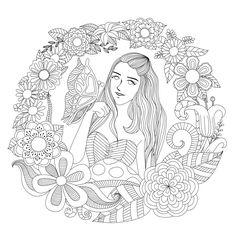 La fille au papillon, un fantastique coloriage fleuri, Dans la galerie : Anti Stress, Artiste : Bimdeedee, Source :  123rf