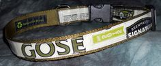 Adjustable Dog Collar from Recycled Choc Brewing Gose Beer Labels by squigglechick on Etsy