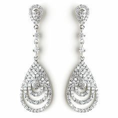 Classic Cubic Zirconia Wedding, Prom and Special Occasion Earrings - Affordable Elegance Bridal -