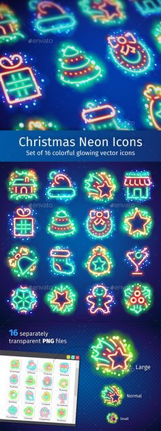 Christmas Neon Icons with Magic Sparkles Design Template - Seasonal Icons Design Template PSD, Vector EPS, AI Illustrator. Download here: https://graphicriver.net/item/christmas-neon-icons-with-magic-sparkles/18979045?ref=yinkira