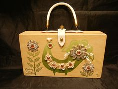 """1964 SIGNED ENID COLLINS OF TEXAS """"SPRING CHICKEN"""" WOOD BOX PURSE 