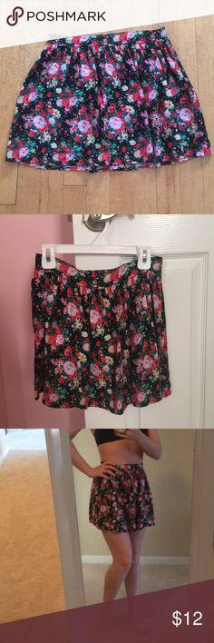 floral skirt Pink/red/green floral skater skirt for summer Wet Seal Skirts Circle & Skater