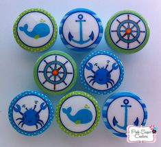 NAUTICAL Knobs AQUA Handmade m2m Pottery Barn by Pinksugarcouture, $36.00
