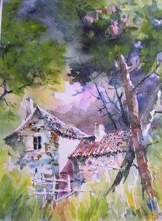Watercolor - la clairière des Landes / The Clearing in Landes