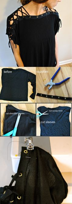 Looking for DIY clothes you can make today? If you want so cute outfit ideas you can make today this is the list you should check out. Make your DIY fashion Diy Clothes Tops, Diy Edgy Clothes, Blouse Tutorial, Sewing Blouses, Diy Vetement, T Shirt Diy, Diy Lace Up Shirt, Clothing Hacks, Clothing Ideas