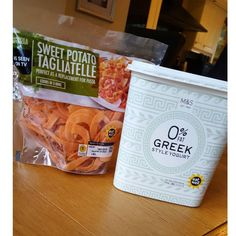 https://www.instagram.com/p/BApUoI3ySqr/ Marks and Spencer food finds! Loads of people have posted about the sweet potatoe tagliatelle so had to pick it up. And got 1kg of Greek yoghurt for 2.99. Exact same macros as other brands so complete bargain!