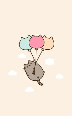 pusheen with balloons