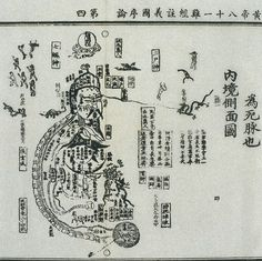 Daoist Internal Topography Woodcut and text from: Library of Zhongguo zhongyi yanjiu yuan (China Academy for Traditional Chinese Medicine), Huang Di ba shi yi nan jing zuan tu jujie (Canon of Eighty-One Problems [in the Inner Canon] of the Yellow Lord with Illustrations and Exegesis) By: Li Jiong Published: Hanfen Lou, Shanghai 1436-1449.