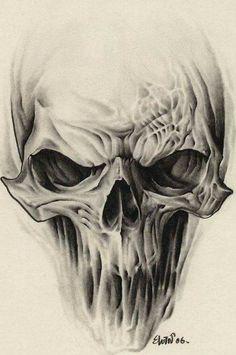 """- Alien Skull Tattoo Design …, - Skull Tattoo Ideas """"The Man Who Has Confid. Evil Skull Tattoo, Skull Hand Tattoo, Skull Tattoo Design, Skull Tattoos, Skull Design, Sleeve Tattoos, Hand Tattoos, Alien Design, Hals Tattoo Mann"""