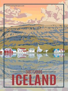 Iceland East Fjord  Vintage Travel Poster