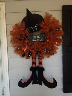 Burlap Halloween Witch Wreath by GrantsBoutique on Etsy, $55.00