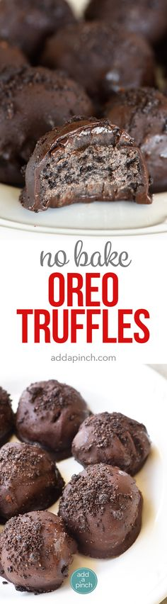No Bake Oreo Truffles Recipe These No Bake Oreo Truffles use just four ingredients and come together in a snap Perfect to make throughout the year but especially during. Fun Easy Recipes, Candy Recipes, Sweet Recipes, Baking Recipes, Oreo Dessert, Low Carb Dessert, No Bake Oreo Truffles Recipe, Truffle Recipe, Köstliche Desserts