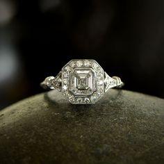 A beautiful 1.01 carat Asscher cut diamond engagement ring. Available at Estate Diamond Jewelry.