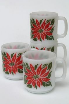 vintage glasbake milk glass mugs holiday christmas poinsettias red green