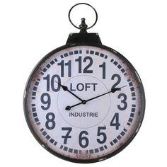 Hele grote zakhorloge klok in donker metaal en met lichte print Diameter: 80 cm Diepte: 6,5 cm