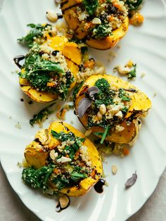 stuffed squash with broccoli rabe and quinoa by The First Mess // healthy vegan recipes for every season Healthy Food Blogs, Whole Food Recipes, Cooking Recipes, Healthy Recipes, Healthy Meals, Yummy Recipes, Healthy Lifestyle, Acorn Squash Recipes, Vegan Dinners