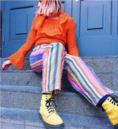 Follow that rainbow. Bananacreates_ in our yellow 1460 boot. #drmartensstyle Dr Martens Style, Agyness Deyn, Luanna Perez, Winter Outfits, Winter Clothes, Cute Socks, Tumblr Outfits, Doc Martens, Thigh Highs