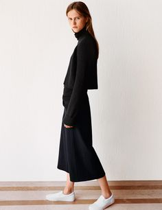 Cashmere long turtleneck sweater, $129.90; lambswool cropped cardigan, $49.90; cashmere-blended gaucho pants, $59.90.