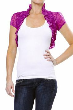 Industries Needs — Smocked Lace Women's Hemmed Bolero Wrap Ruffled...