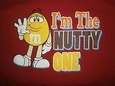 PEANUT M&M'S I'M THE NUTTY ONE T SHIRT Red XL Yellow Bag Cartoon Character Candy