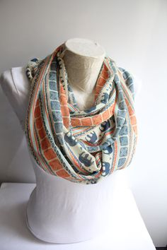 Elephant Scarf, Infinity Scarf,Loop Scarf,Boho Scarf, Circle Scarf, Fashion Accessories, Gift For Her, Gift Ideas, Women Accessories Elephant scarf