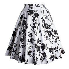 Vintage Flower Printed Skirt (120 SEK) ❤ liked on Polyvore featuring skirts, rosegal, floral print skirt, floral knee length skirt, vintage skirts, floral vintage skirt and floral printed skirt