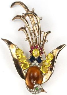 Trifari Sterling 'Alfred Philippe' Swooping Topaz Cabochon Belly Bird of Paradise Pin