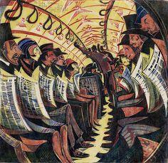リノカットのプリント。強いなあ。かっこいい。(via Cyril E. Power, The Tube Train, 1934.)