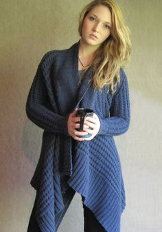 Sunday Knits blanket style wrap front cardigan  - lovely, want one for winter....