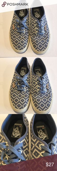 Vans geometric blue and white sneakers These are vans geometric pattern  sneakers. Great condition with e4d4c1840