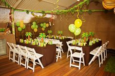 My son Ethan's 5th Birthday Party - Monkey Jungle Theme, kids sit down tables. Party styled by Piece of Cake Parties & Celebrations.  Photography by Lightbox Photography.
