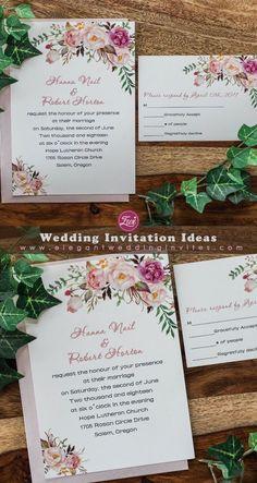 Rustic boho blush magenta floral wedding invitation EWI441