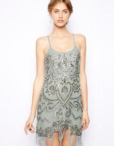 1920s Flapper Dress - Frock and Frill Embellished Cami Dress with Tassel Hem $253.99