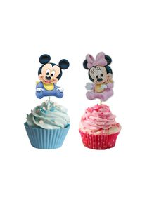 This listing is for 24 baby minnie and baby mickey cupcake/cakepop toppers. Each cupcake/cakepop topper is approximately 3 inches in height.  you will