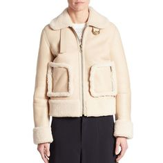 Chloé Cropped Shearling Jacket (299.115 RUB) ❤ liked on Polyvore featuring outerwear, jackets, collar jacket, long sleeve crop jacket, zip front jacket, shearling collar jacket and pink jacket