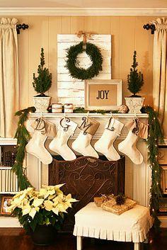 Green, Burlap, and Cream Christmas