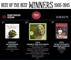 """The Winners! Again, a big moment for """"Cooking at Home with Pedatha"""". Chosen among the BEST THREE Vegetarian Cookbooks of the past TWENTY YEARS. This was announced at the Frankfurt Book Fair this year.   On 15th October 2015, the 'Gourmand Awards – Best of the Best' event took place to choose the best cookbooks from 1995- 2015, celebrating 20 years of cookbook awards"""
