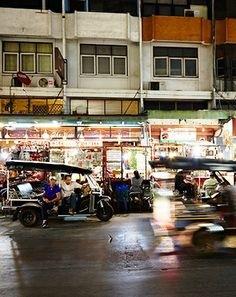 At night, Chiang Mai's Chang Klan Street buzzes with activity.