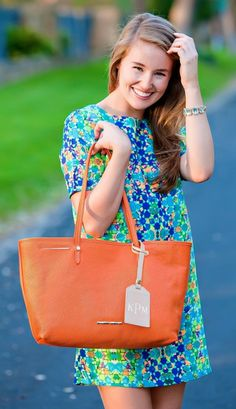 bright spring dress + the Strand tote by Elaine Turner