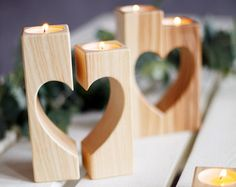 Wooden Candle holder vintage Heart candle