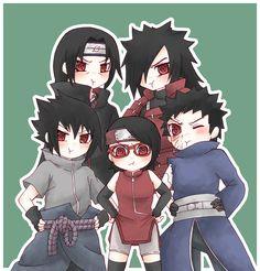 Madara,Sasuke,Itachi,Obito and Sarada Uchiha Chibi KAWAIII =3
