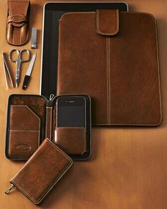 I'm digging' this leather phone wallet.