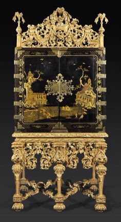 A Rare Charles II Black and Gilt Japanned Cabinet with Original Giltwood Cresting and Stand CIRCA 1685 Japanese Furniture, Chinese Furniture, French Furniture, Antique Furniture, Furniture Styles, Furniture Decor, Painted Furniture, Fine Furniture, Antique Fairs