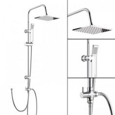 Large Shower Mixer Set Square / Round Chrome Twin Head Expose Valve Unit New Basin Sink Bathroom, Sink Taps, Bathroom Sets, Bathrooms, Bath Shower Mixer Taps, Shower Valve, Large Shower, Shower Set, Adjustable Shower Head