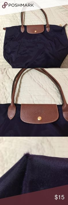 Longchamp Le Pilage Tote in Purple Rare deep purple Le Pilage bag with the long handles. Good condition, a small amount of wear on the corners, but still in nice shape. Longchamp Bags Totes